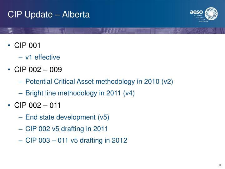 CIP Update – Alberta