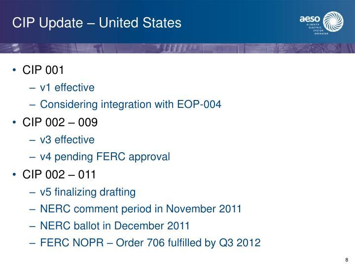 CIP Update – United States