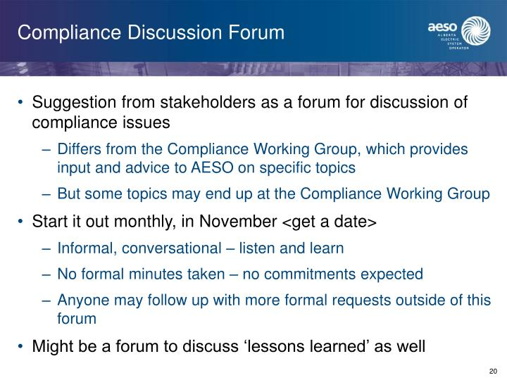 Compliance Discussion Forum