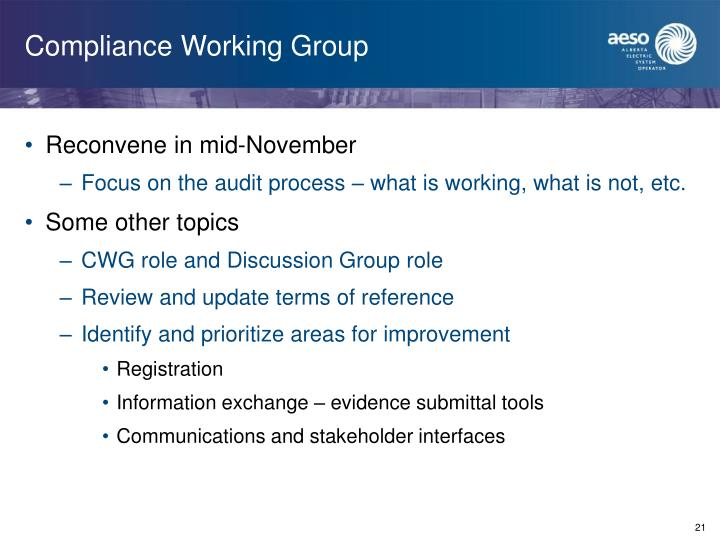 Compliance Working Group