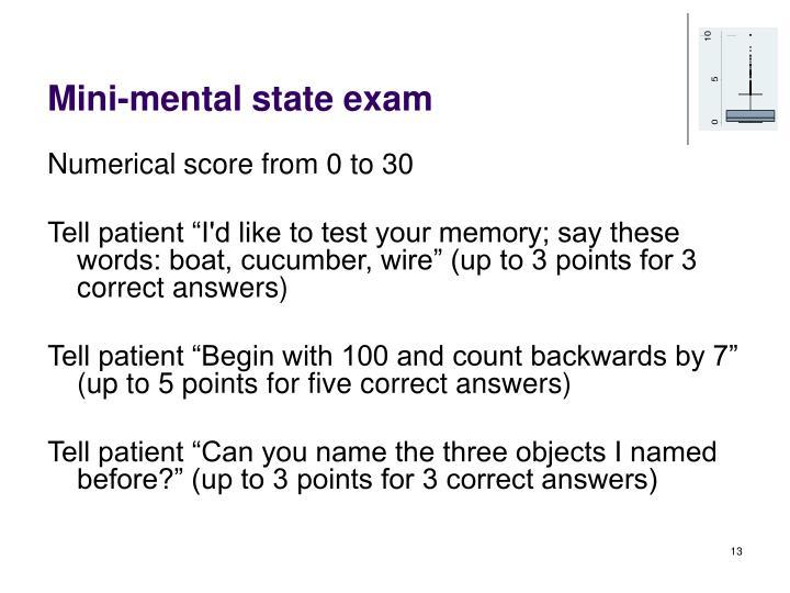 Mini-mental state exam