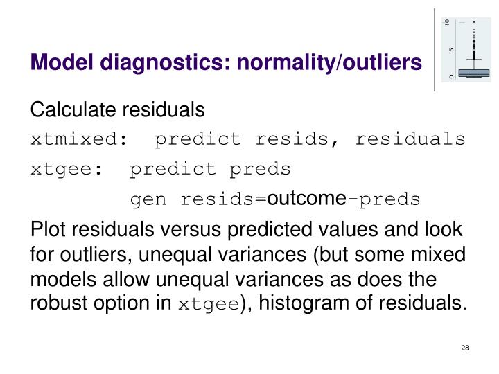 Model diagnostics: normality/outliers