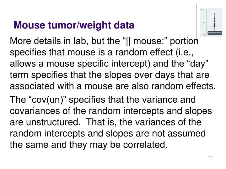Mouse tumor/weight data