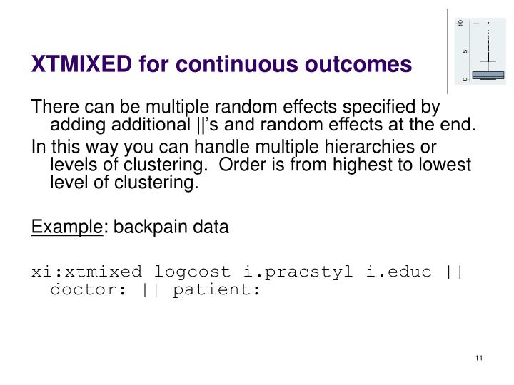 XTMIXED for continuous outcomes