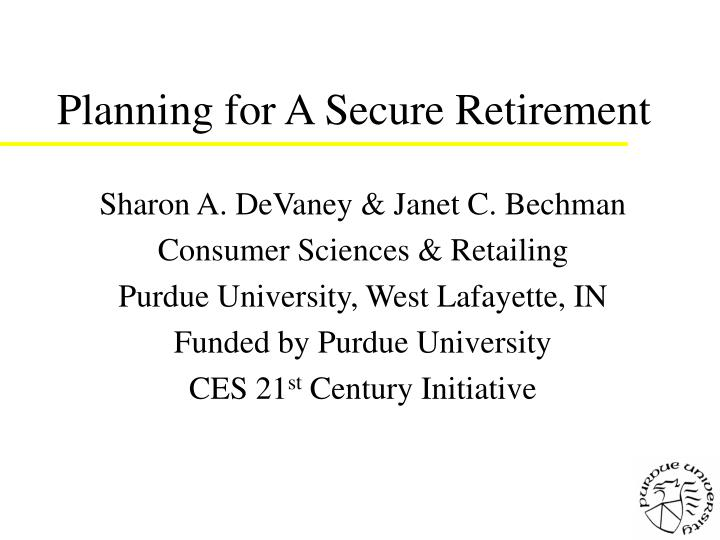 Planning for a secure retirement