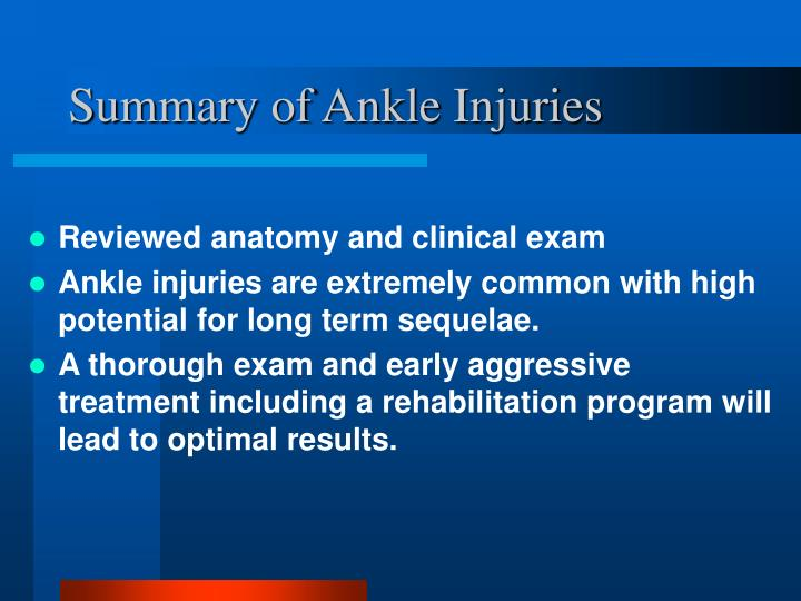Summary of Ankle Injuries