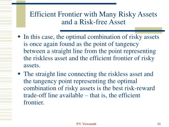 Efficient Frontier with Many Risky Assets and a Risk-free Asset