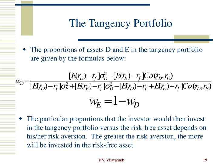 The Tangency Portfolio