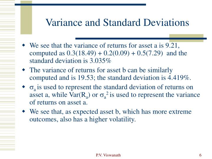 Variance and Standard Deviations