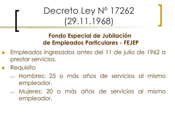 Decreto Ley Nº 17262 (29.11.1968)