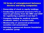 16 forms of entanglement between doctors and drug companies2