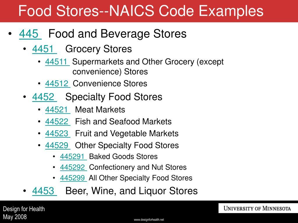 Food Stores--NAICS Code Examples