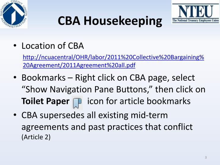 CBA Housekeeping