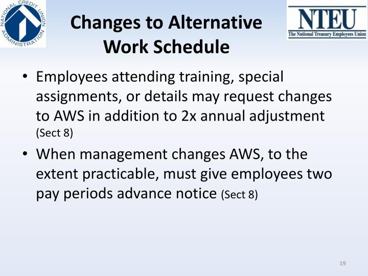 Changes to Alternative Work Schedule