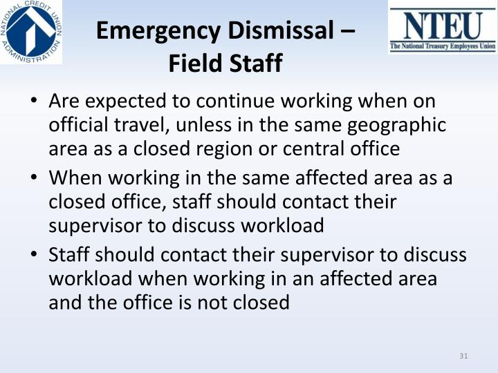 Emergency Dismissal – Field Staff
