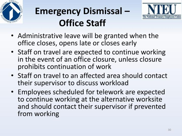 Emergency Dismissal – Office Staff