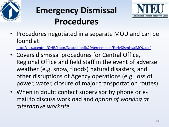 Emergency Dismissal Procedures