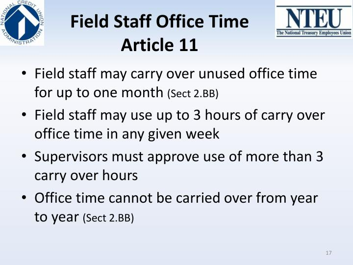 Field Staff Office Time
