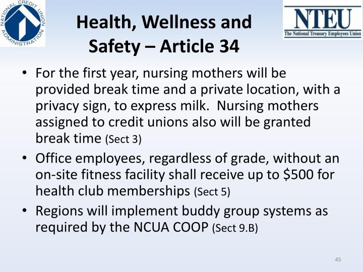 Health, Wellness and Safety – Article 34