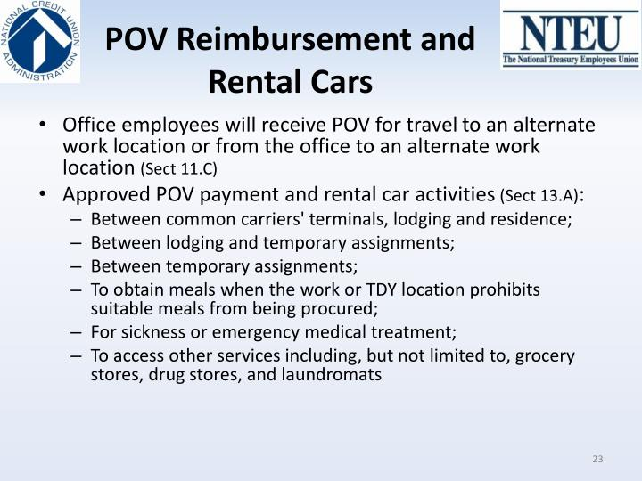 POV Reimbursement and Rental Cars