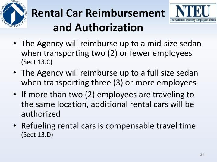 Rental Car Reimbursement and Authorization