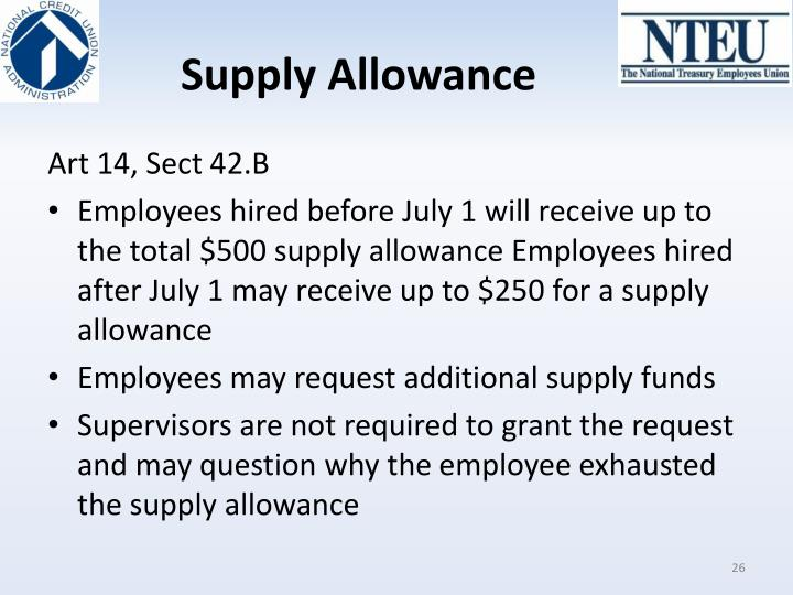 Supply Allowance
