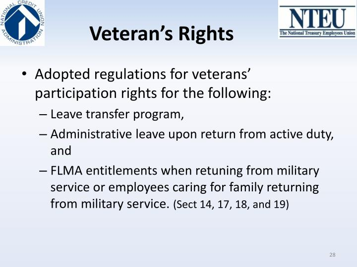 Veteran's Rights