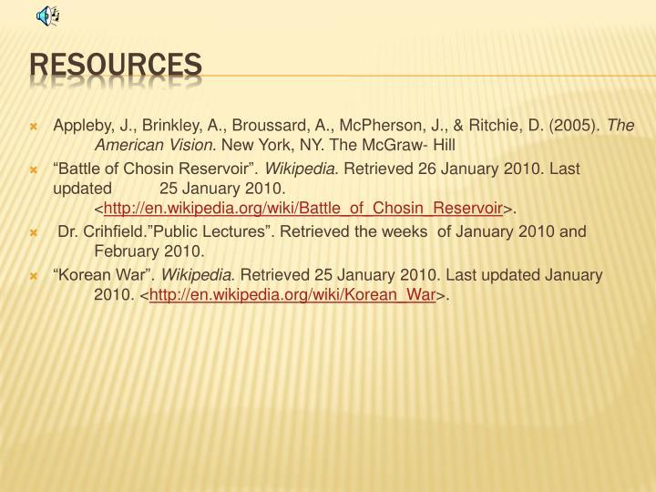Appleby, J., Brinkley, A., Broussard, A., McPherson, J., & Ritchie, D. (2005).
