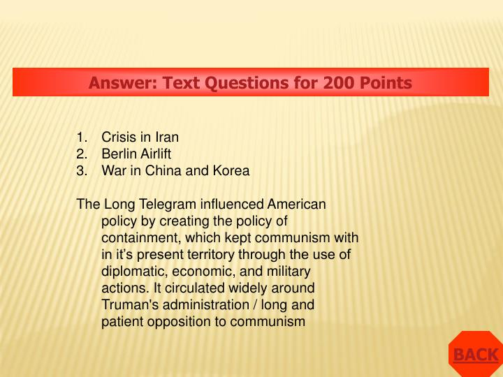 Answer: Text Questions for 200 Points