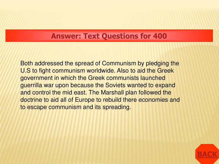 Answer: Text Questions for 400