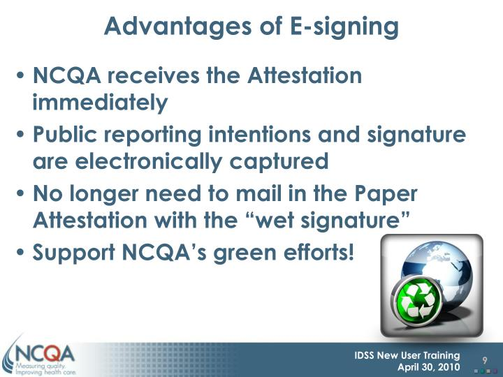 Advantages of E-signing