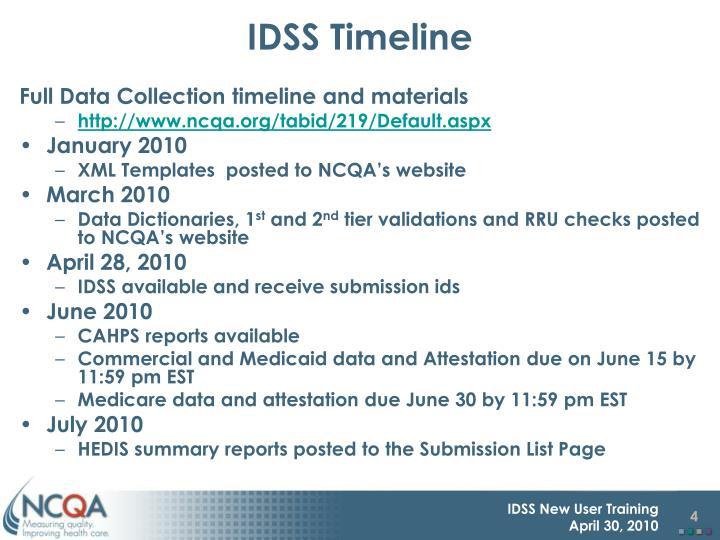 IDSS Timeline