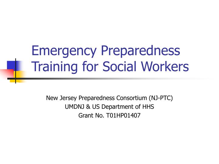 Emergency preparedness training for social workers