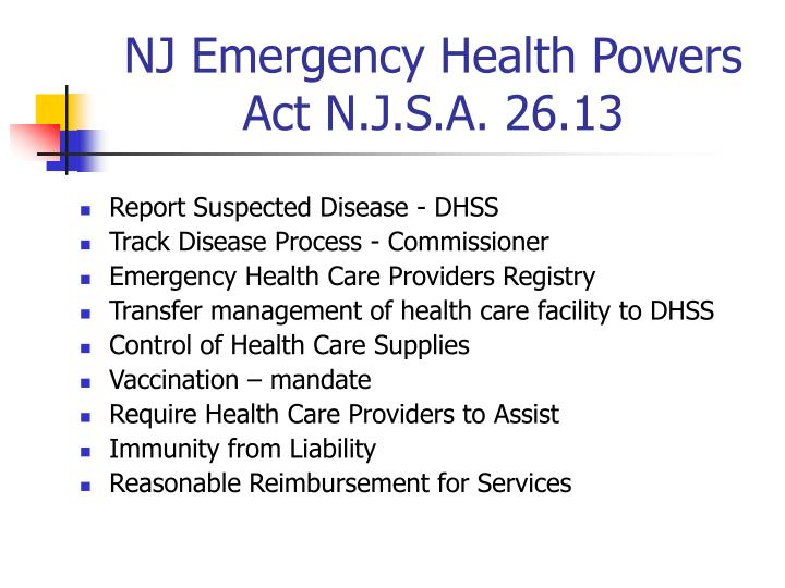 NJ Emergency Health Powers Act N.J.S.A. 26.13