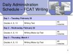 daily administration schedule fcat writing