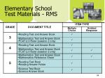 elementary school test materials rms