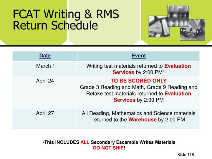 FCAT Writing & RMS