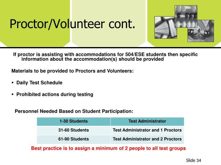 Proctor/Volunteer cont.
