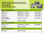 rms daily administration schedule paper based tests1