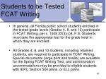 students to be tested fcat writing