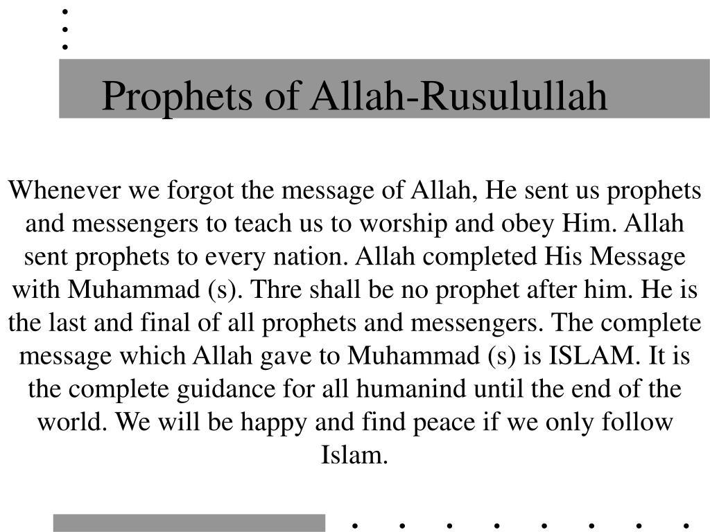 Prophets of Allah-Rusulullah