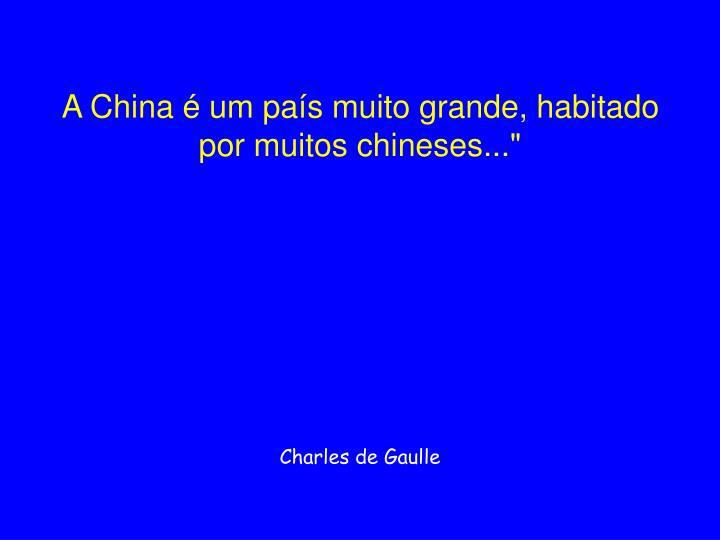 """A China é um país muito grande, habitado por muitos chineses..."""""""