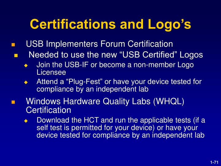 Certifications and Logo's