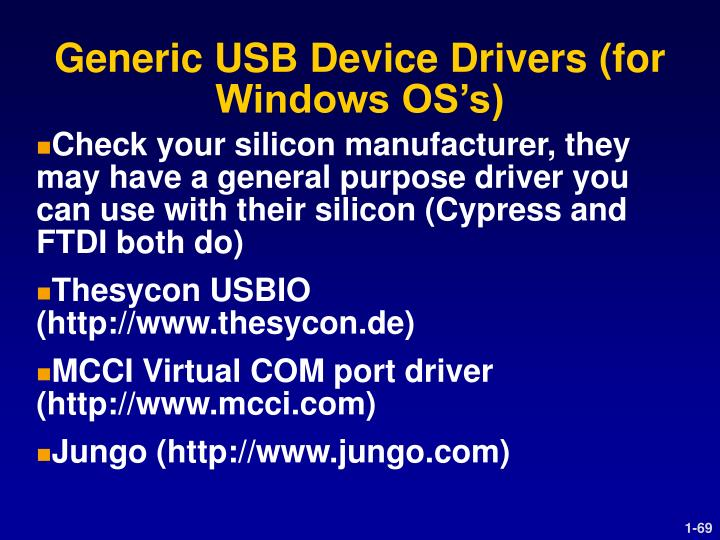 Generic USB Device Drivers (for Windows OS's)