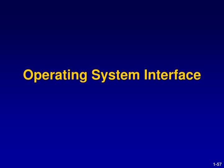 Operating System Interface