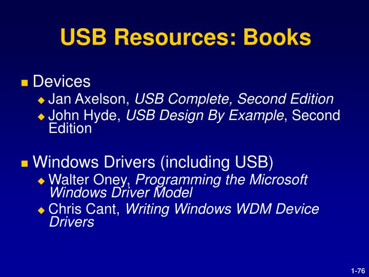 USB Resources: Books