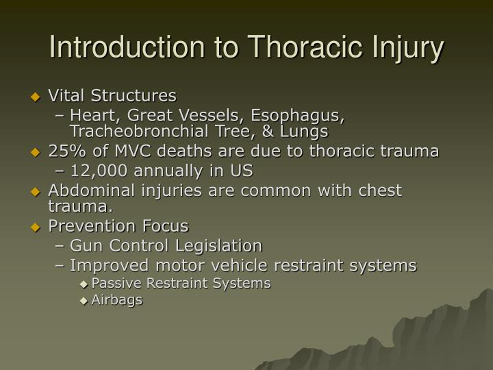 Introduction to thoracic injury