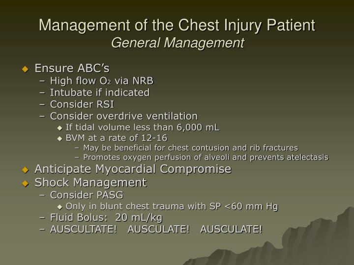 Management of the Chest Injury Patient