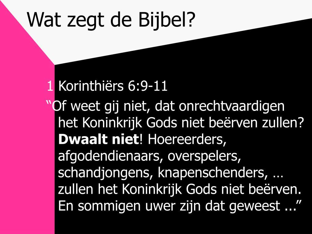 Wat zegt de Bijbel?