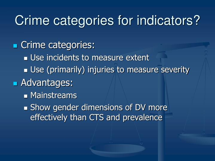 Crime categories for indicators?